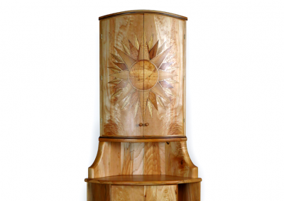 Butsudan and stand in maple with sunburst doors