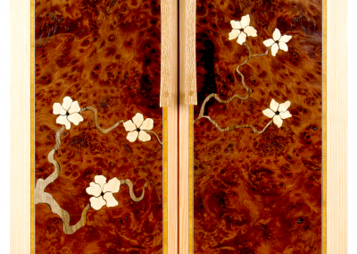 Butsudan in fir and rewood burl with flowering branch marquetry