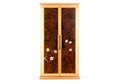 Butsudan in fir and redwood burl with flowering branch marquetry