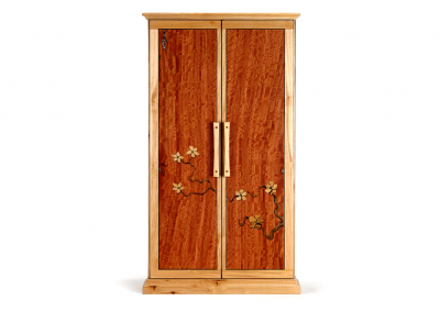 Butsudan in maple and eucalyptus with mussel shell inlay and flower marquetry
