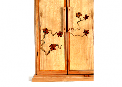 Butsudan in maple and pecan with blossom marquetry