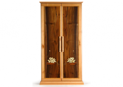 Butsudan in maple and walnut with lotus marquetry