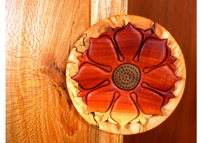 Butsudan in spalted alder and sycamore with lotus mandala