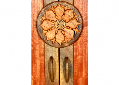 Butsudan in walnut and eucalyptus with entarsia lotus mandala