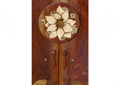 Custom marquetry lotus mandala in walnut and pecan