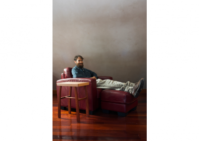 Ian with maple and eucalyptus side table