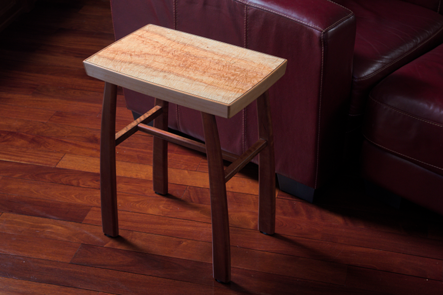 Side table in maple and eucalyptus