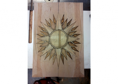 Sunburst marquetry
