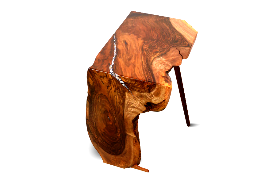Waterfall accent table in walnut