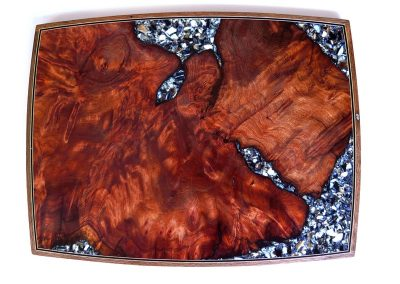 Wall art in redwood with mussel shell inlay 2